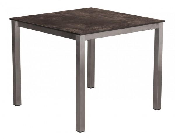 Tisch Willington Edelstahl HPL 90cm x 90cm deVries