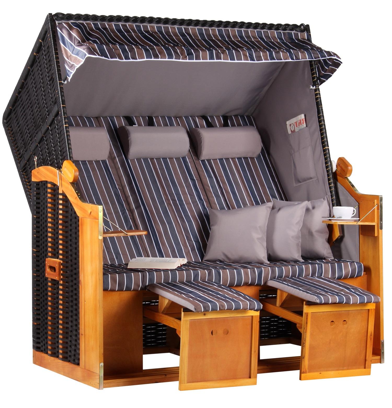 strandkorb baltic xxl pe schwarz dessin braun grau anthrazit. Black Bedroom Furniture Sets. Home Design Ideas
