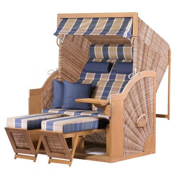 Strandkorb deVries PURE® Comfort XL PE griseum Dessin 428 - TEAK