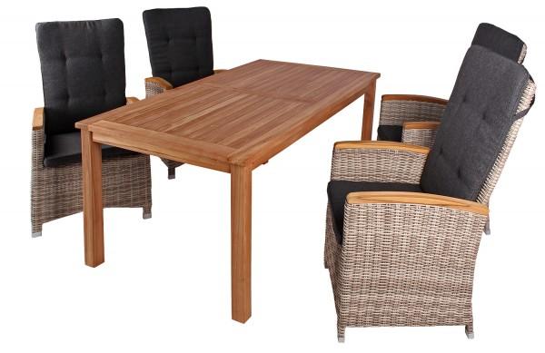 Relaxsessel Siena und Tisch Westham Teak-KOMPLETTSET