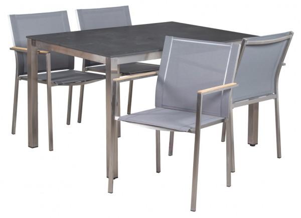 Tischgruppe Willington und Halvar Edelstahl HPL Outdoorgewebe deVries - KOMPLETTSET