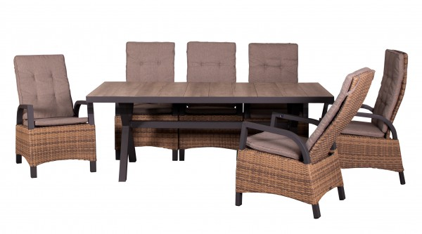 MONTANA-SET 6 Relaxsessel ALU, spotted brown + 1 Tisch 200 x 100 cm