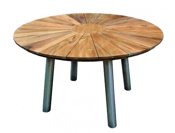 Tisch Fjord Edelstahl Teak ø 130cm Aktion